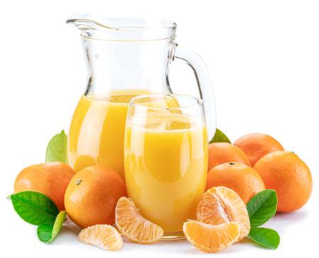 Orange tangerine fruits and fresh tangerine juice
