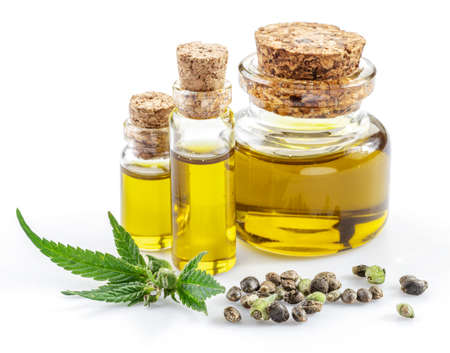 Cannabis leaves, seeds and hemp oil isolated on white background. Close up. Фото со стока