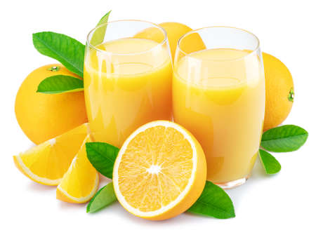 Yellow orange fruits and two glasses of fresh orange juice isolated on white background. Фото со стока
