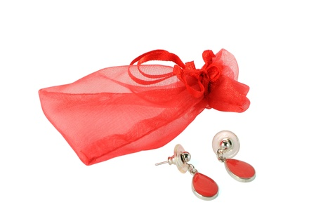 Red transparent packing for jewelry and earrings Stock Photo - 16059042