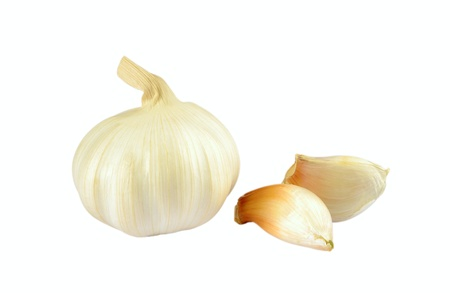 Garlic and cloves of garlic on a white background