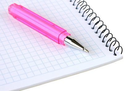 Pink pen lies on a notebook