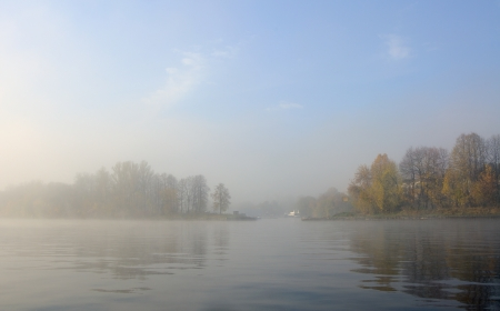 Autumn foggy morning on the river Stock Photo