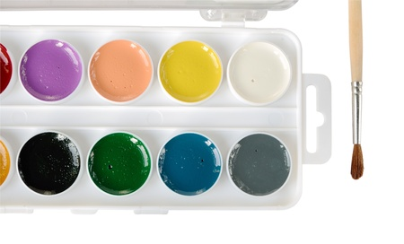 Watercolor paints and paintbrush on a white background Stock Photo
