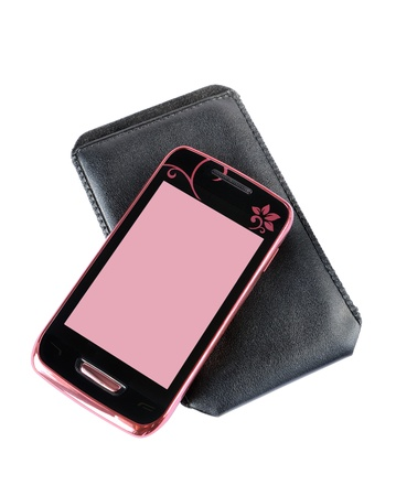 Mobile phone and case on a white background Stock Photo