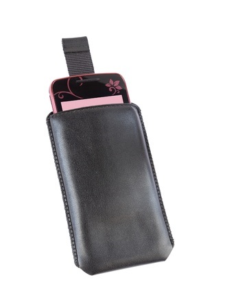 Mobile phone and case on a white background Stock Photo - 16358760