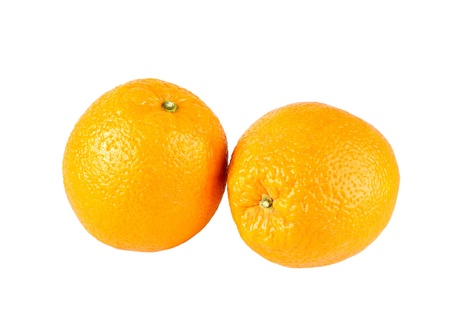 Two oranges on a white background photo