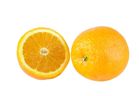 bisected: Fresh oranges on a white background