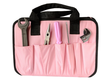 Pink tool bag isolated on white photo
