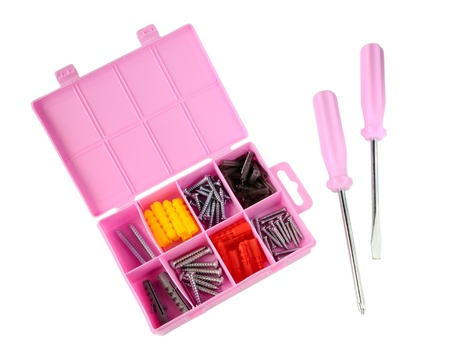 dowel: Pink box with screws and screwdrivers isolated on white