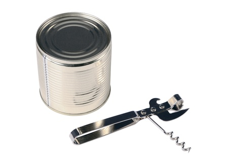can opener: Can opener and can isolated on a white background Stock Photo