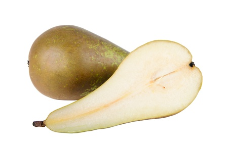 One and a half pears isolated on the white photo