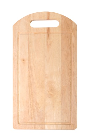 Wooden cutting board isolated on white photo