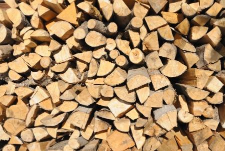 woodpile: Pile of chopped fire-wood Stock Photo