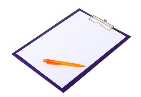 A piece of blank paper and orange pen on clipboard, isolated on white Stock Photo