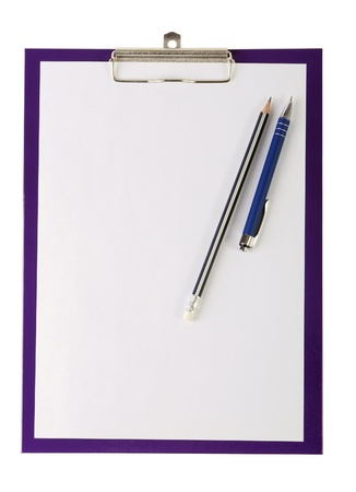 A piece of blank paper, pen and wooden pencil on clipboard, isolated on white photo