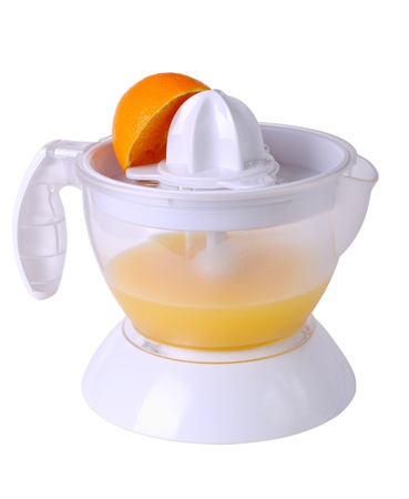 bisected: Juicer with juice and an orange half isolated on white