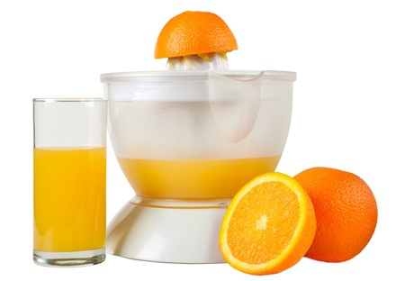 Oranges, juice extractor and glass of juice isolated on white Stock Photo