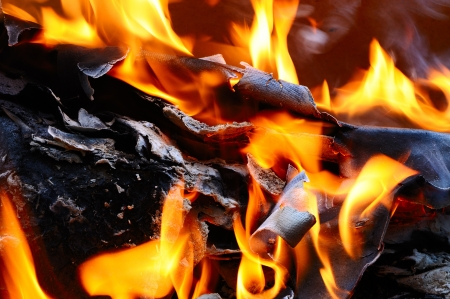 Burning cardboard in a fire photo