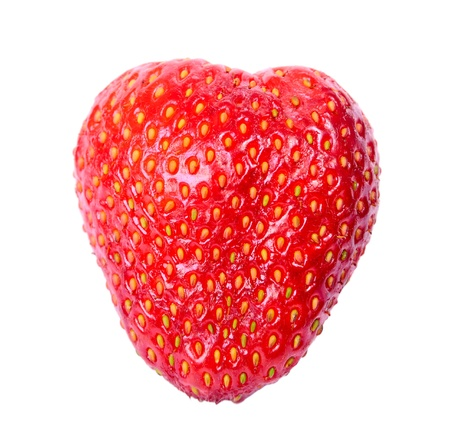 Strawberry heart isolated on white