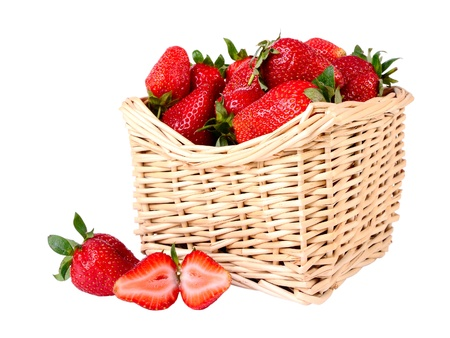 Strawberries in a basket isolated on white