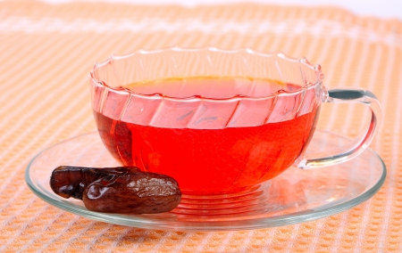 Tea in a glass cup, with dates