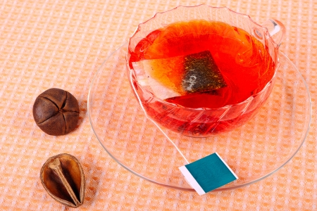 Ð¡up of tea with tea bag in a glass cup Stockfoto