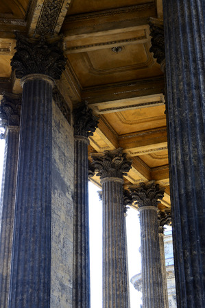 St. Petersburg, Russia - April 7, 2014: Columns of the Kazan Cathedral in Saint-Petersburg on Nevskiy prospect street