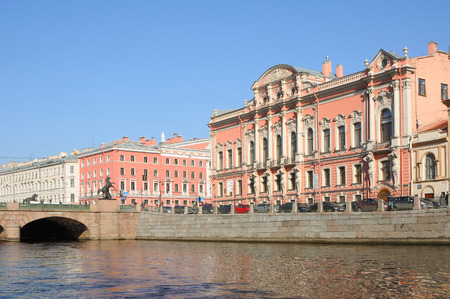 eclecticism: SAINT PETERSBURG, RUSSIA - APRIL 7, 2014: View from the Fontanka River at Beloselsky-Belozersky (Sergievskiy Palace) - the former Grand Palace in St. Petersburg, located at the intersection of Nevsky Prospekt and the Fontanka River. The building belongs t Editorial