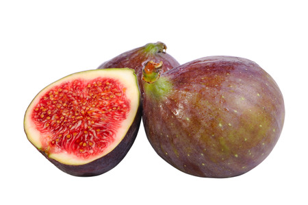 Few figs on the mat isolated on white
