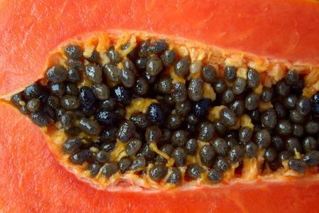pulp: Papaya pulp slice close-up Stock Photo