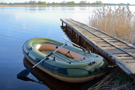 inflatable boat: Inflatable boat at the river berth