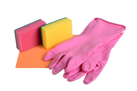 rubber gloves: Sponges, rag for cleaning and rubber gloves isolated on white