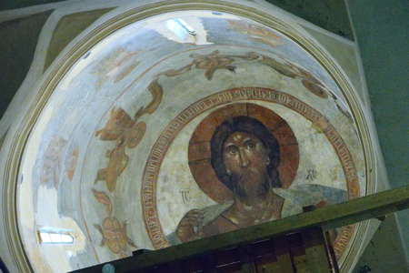 pantocrator: Velikiy Novgorod, Russia - July 16, 2016: The mural of the famous icon painter Theophanes the Greek Christ Pantocrator, located in the church of the Transfiguration. The painting made in 1378.