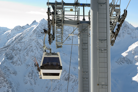 Mountain lift to Elbrus, North Caucasus.Against snowy mountain peaks. Stock Photo
