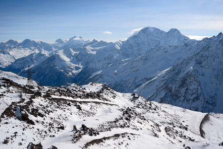 View from a slope of Elbrus on the Caucasian ridge