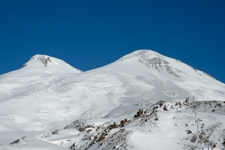 Double peak of Mount Elbrus in the sunny weather