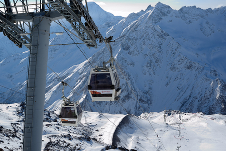 Elbrus, Russia - January 28, 2017: Ski lift to the mountain skiing track on Mount Elbrus, top view.