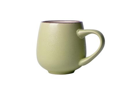 Green ceramic mug isolated on white background