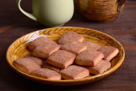 Cookies with cinnamon on a ceramic dish