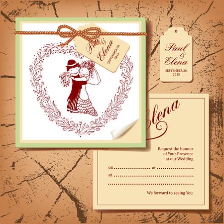 wedding couple: Wedding postcard with drawing couple.