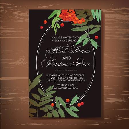 ローワンの描画に結婚式招待状。  イラスト・ベクター素材