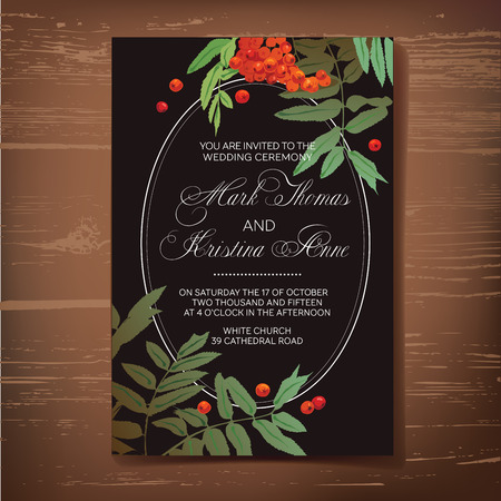 Wedding invitation card with drawing rowan.