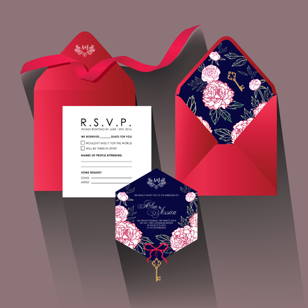 wedding: Wedding invitation card with peonies.