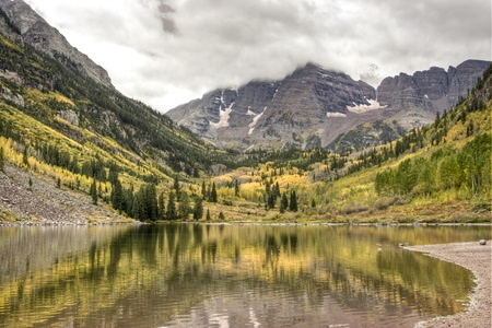 Maroon Bells on a cloudy day. Colorado, USA Stock Photo - 11216230