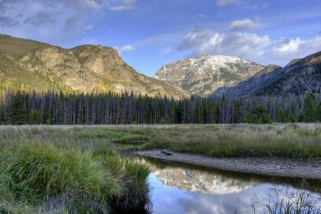 Reflection of mountains  in a pond. Colorado, USA photo