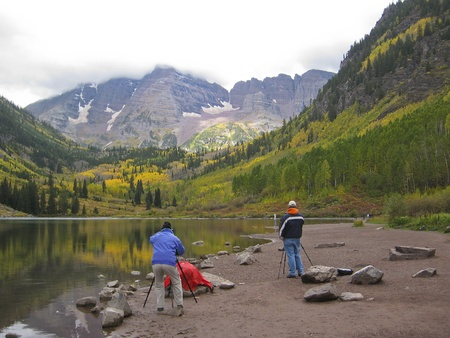 Photographers at  Maroon Bells . Colorado, USA photo