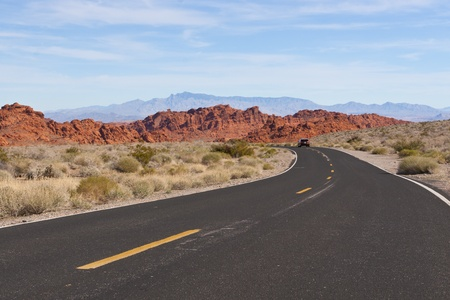 A road  into Valley of Fire State Park, Nevada, USA photo