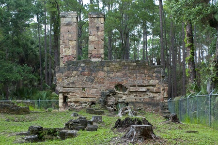 Ruins of old sugar mill in tropical forest in Florida, USA