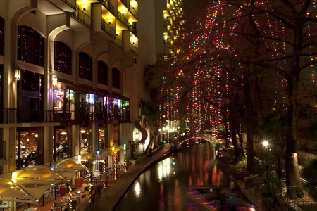 antonio: Christmas lights at riverwalk in San Antonio, Texas, USA Editorial